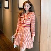 洋裝 韓系秋冬收腰顯瘦菱格紋紅色針織連身裙 花漾小姐【預購】