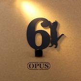 OPUS 歐式鐵藝壁飾掛勾/無痕掛鉤(當貓咪遇上數字6)黑