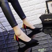 高跟鞋 正韓高跟鞋女細跟貓跟鞋百搭尖頭黑色拼色中跟單鞋 【甲乙丙丁生活館】