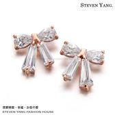 耳環 正白K飾「典雅」蝴蝶結 耳針式 鋯石 一對價格 專櫃推薦