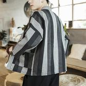 中國風夏季棉麻漢服外套男士寬鬆復古道袍日式和服開襟男夏裝風衣 熊貓本