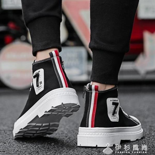 秋季馬丁靴男增高短靴高筒英倫風中筒男士靴子馬丁鞋工裝男鞋潮鞋 伊衫風尚