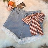 牛仔闊腿超可愛短褲女夏季高腰蕾絲花邊系褲子顯瘦腿長熱褲寬鬆 喵小姐