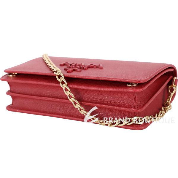 PRADA Saffiano 紅字金屬浮刻迷你雙層手拿/鍊帶包(紅色) 1820229-54