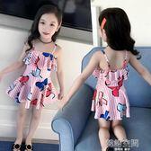 兒童泳衣女游泳衣連體公主裙式寶寶泳衣可愛女童泳衣幼兒中大童  韓語空間