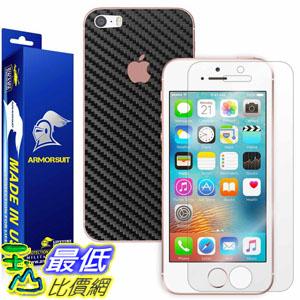 [107美國直購] 保護殼 Apple iPhone SE Screen Protector + Black Carbon Fiber Skin
