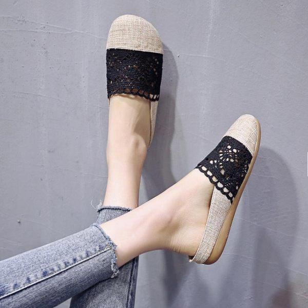 半拖鞋 半拖鞋女鏤空蕾絲漁夫鞋女平底一腳蹬懶人鞋亞麻包頭女鞋 【韓國時尚週】