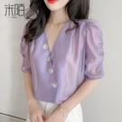 紫色短袖雪紡襯衫女裝夏季2020年新款時...