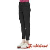 【wildland 荒野】女 彈性抗UV合身收腹九分褲『黑色』0A81315 戶外 休閒 運動 露營 登山 騎車