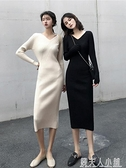 復古chic風秋季新款修身顯瘦打底針織洋裝長袖v領過膝毛衣裙潮 秋季新品
