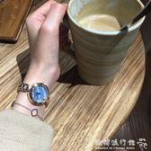 流行女錶  藍貝母韓風CHIC細帶復古金色鏈條錶文藝百搭石英手錶女A101 『歐韓流行館』