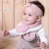 愛心壓紋交叉保暖圍巾 兒童圍巾 脖圍