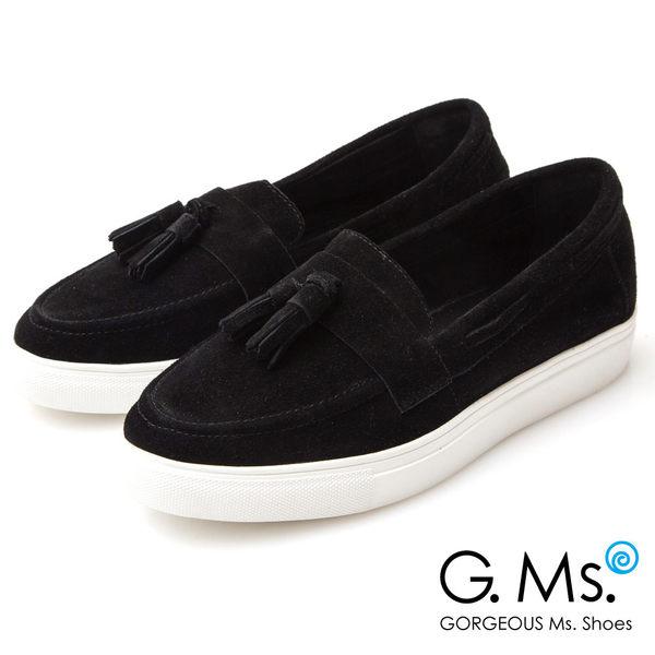 G.Ms. 牛麂皮流蘇莫卡辛厚底鞋*黑色