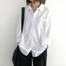 棉麻襯衫女春裝新款字母刺繡白色上衣文藝寬鬆顯瘦復古長袖襯衣潮 設計師