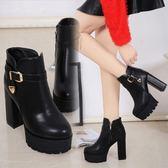 踝靴 短靴女鞋秋冬正韓百搭粗跟超高跟防水臺皮帶扣英倫騎士靴-新主流