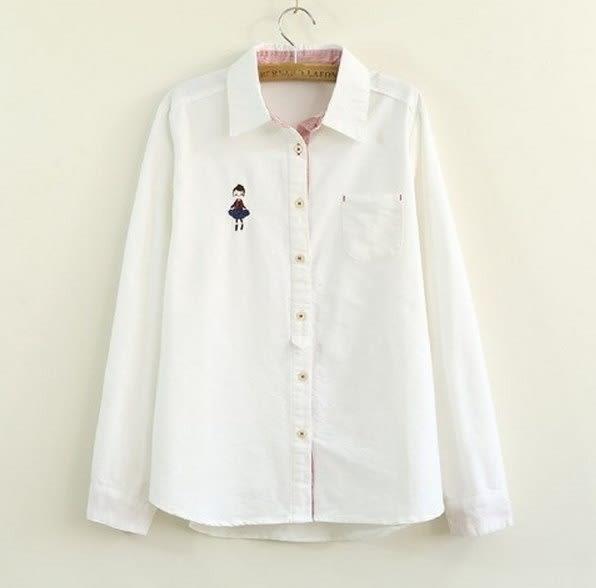 日系小清新刺繡口袋娃娃寬鬆棉麻襯衫