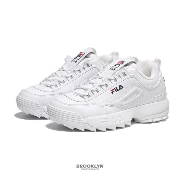 FILA 休閒鞋 DISUPTER 2 鋸齒鞋 全白 厚底 增高 老爹鞋 男 4C608S125
