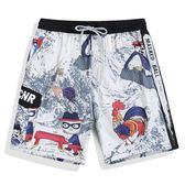 夏度假情侶沙灘褲男大碼寬鬆五分褲女休閒短褲男大褲衩平角泳褲   麥吉良品