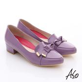 A.S.O 職場女力 鏡面牛皮立體飾扣低跟鞋  紫