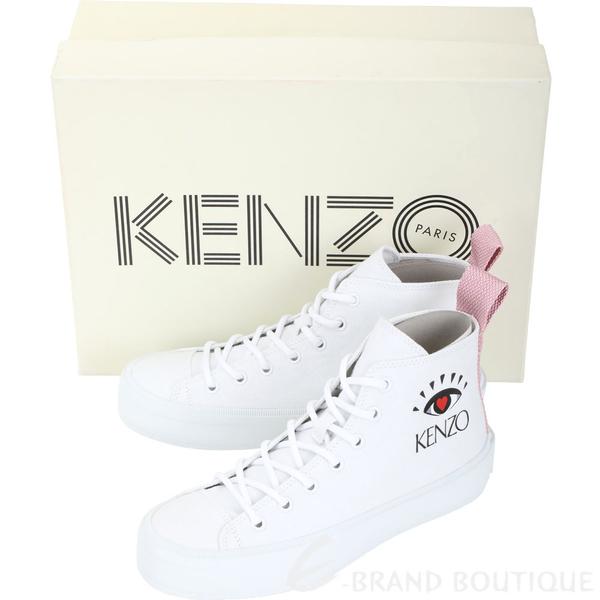 KENZO K-Street 眼冒愛心高筒帆布鞋(女款/白色) 1930341-20