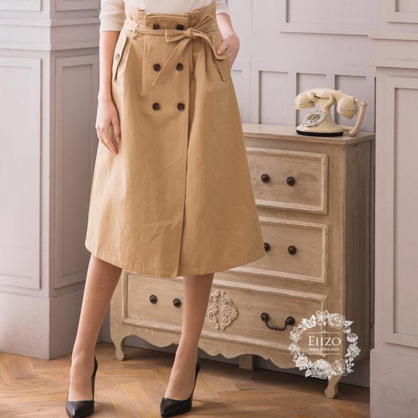 【EIIZO】英倫風綁帶設計中長裙(卡其)