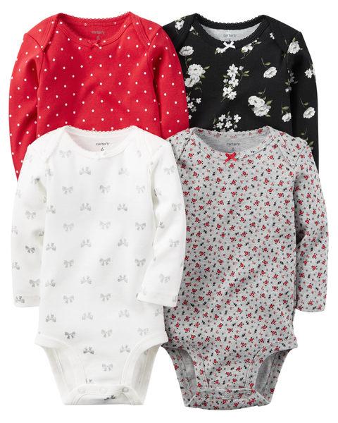 【美國Carter's】長袖純棉包屁衣4件組 - 花卉蝴蝶結系列 126G458