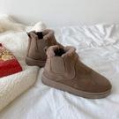 棉鞋女 雪地靴女2020冬季新款短筒平底切爾西一腳蹬加絨時尚冬天棉鞋短靴【快速出貨】