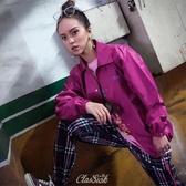 【現貨】CLSK- 原創 設計 防風 刺繡 紫色 教練 外套 男女款 CLSK1705