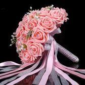 新娘結婚30朵仿真韓式滿天星新娘手捧花創意婚紗照婚禮水鑚紗帶