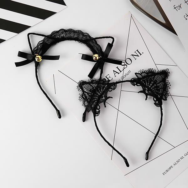 Qmigirl  甜美時尚復古鏤空黑色蕾絲刺繡貓耳朵網紗髮箍 兔耳朵髮箍 髮飾【G002】