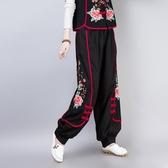中國風棉麻 繡花設計 秋款長褲 過年喜慶闊腿褲民族風 萬聖節鉅惠