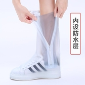 高筒騎行雨鞋套 加厚耐磨防滑底高筒 男女款上班上學防水雨靴  青木鋪子
