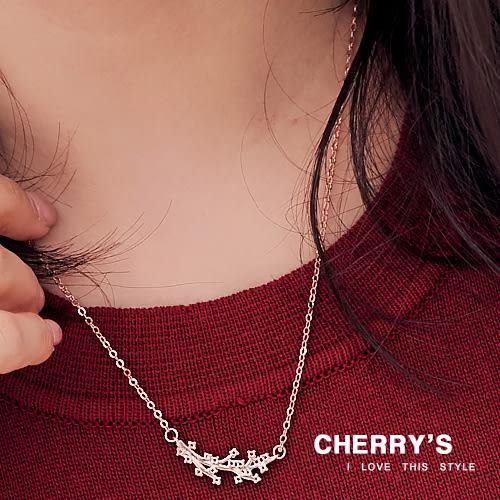 時尚樹葉鑲鑽造型鎖骨鏈  【櫻桃飾品】【10462  】