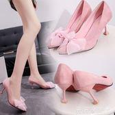 跟鞋5-8cm 尖頭韓版蝴蝶結女鞋子百搭女單鞋淺口蕾絲低幫鞋 薇薇家飾