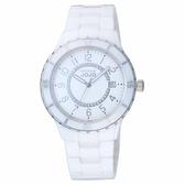 NATURALLY JOJO 經典魅力時尚陶瓷腕錶-銀X白-JO96974-80F