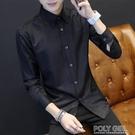 冬季青少年長袖襯衫男士韓版修身型黑色襯衣潮男裝休閒外套衣服寸   夏季狂歡