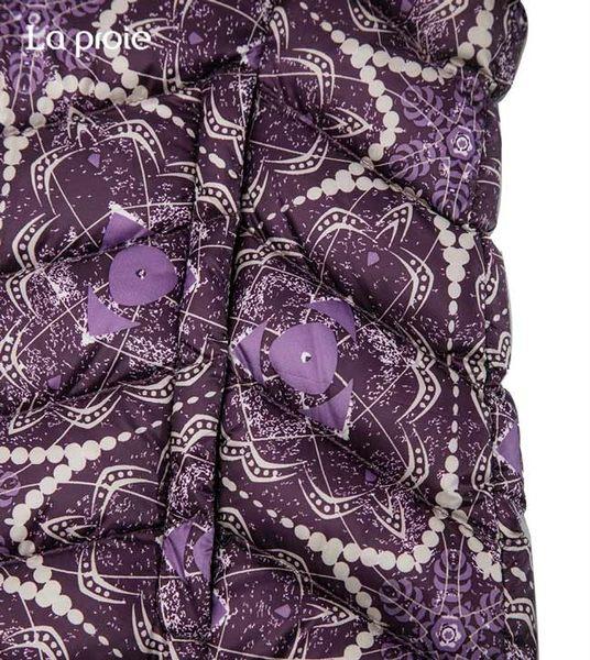 女式超輕印花羽絨服-設計師款花樣短版保暖羽絨外套(靛藍萬花筒)