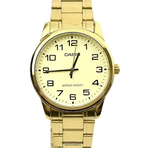 CASIO手錶 耀眼金色數字鋼錶NECE4