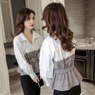 2019秋裝新款韓版格子拼接很仙的上衣修身繫帶收腰顯瘦洋氣襯衫女