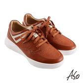 A.S.O 機能休閒 輕量抗震編織紋綁帶休閒鞋 茶