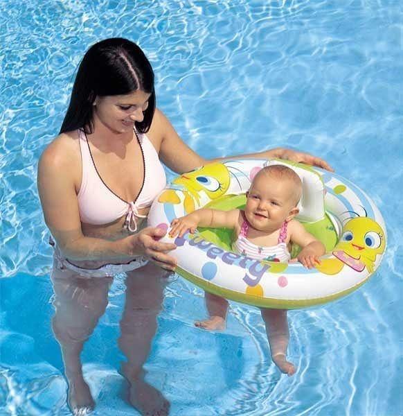 [衣林時尚]INTEX 26.5吋 華納嬰兒座圈 2歲以下 游泳圈 (有底褲 挖2個洞) 雙氣室安全設計 58574