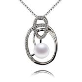 珍珠項鍊 925純銀吊墜-鑲鑽6mm幾何線條生日情人節禮物女飾品73lx19【時尚巴黎】