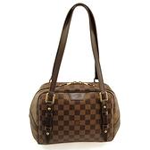 【奢華時尚】LV 棋盤格紋帆布Rivington 肩背元寶包(八八成新)#24933