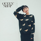 Queen Shop【01070927】趣味滿版恐龍毛衣*現+預*