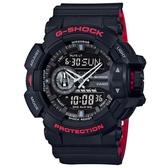 CASIO G-SHOCK 絕對強悍黑與紅系列科技雙顯錶(GA-400HR-1A)