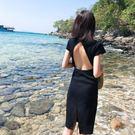 露背洋裝 旅游度假沙灘裙女夏季新款修身顯瘦圓領短袖包臀中長款連衣裙