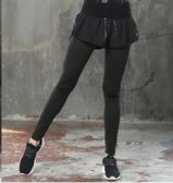 健身服運動褲女速干瑜伽褲緊身假兩件健身房專業舞蹈長褲秋初學