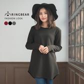 長版上衣---質感時尚緄邊圓領船弧形下襬長袖上衣(黑.灰.紅XL-3L)-X249眼圈熊中大尺碼