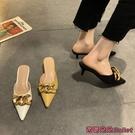 穆勒鞋 包頭半拖鞋女春季新款尖頭氣質百搭細跟外穿夏穆勒鞋-Ballet朵朵