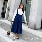 中大尺碼 牛仔排釦吊帶長裙 - 適XL~4L《 79136 》CC-GIRL